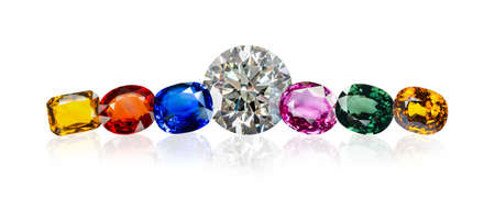diamond and Bright gems on a white background 스톡 콘텐츠
