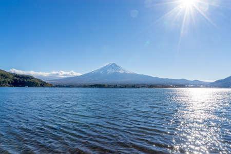 sengen: Mount fuji at Lake kawaguchiko with sunny in japan Stock Photo