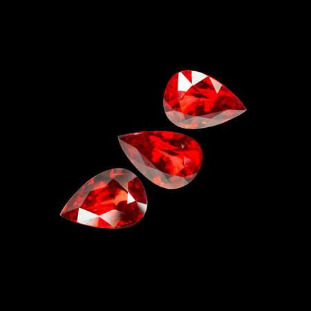 dazzlingly: Set of red sapphire gemstone. Gems different cut