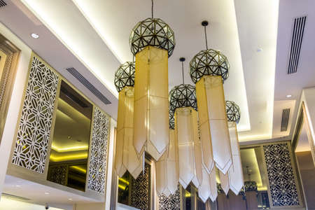 classic chandelier in Hotel Stock Photo