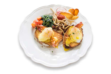 benedict: Delicious breakfast with eggs Benedict Stock Photo