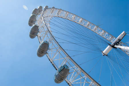 diameter: LONDON - AUG 6: The London Eye on August 6, 2008 in London. The entire structure of the London Eye is 135 meters tall and the wheel has a diameter of 120 metres. Stock Photo