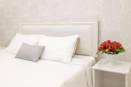 condo: Bed and pillow set Stock Photo