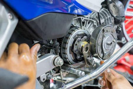Motorcycle engine repair Stock Photo