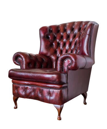 antique furniture: red vintage armchair isolated on white background