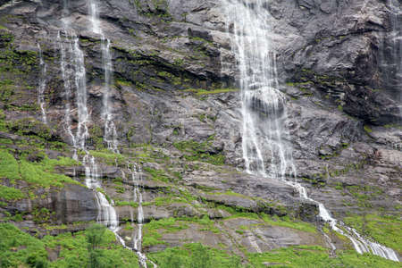 The Seven Sisters Waterfall in Geiranger Fjord, Norway Stock Photo