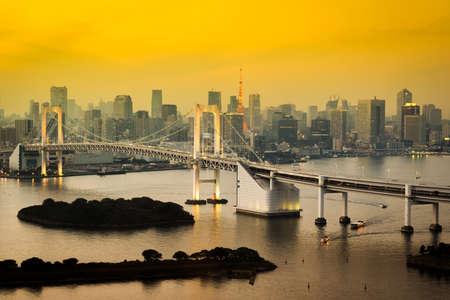 Tokyo Tower skyline and Rainbow Bridge with cityscape at Odaiba Japan Stock Photo