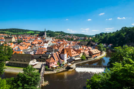 Beautiful view to tower and castle in Cesky Krumlov, Czech republic Editorial