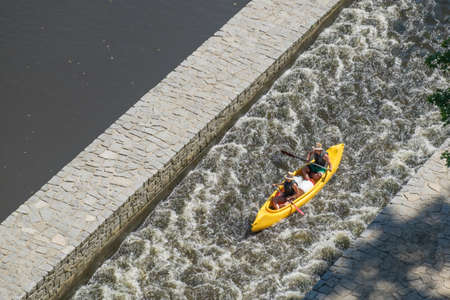 Two Kayakers in whitewater at Cesky Krumlov Stock Photo