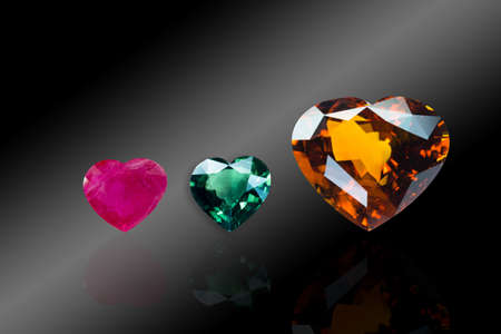 collection of Isolated heart shaped gem on black