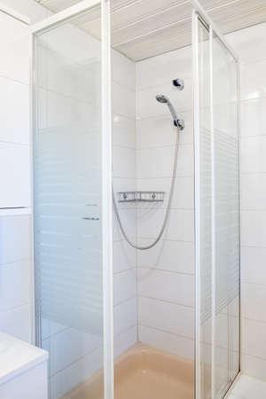 bathroom interior: glass shower room