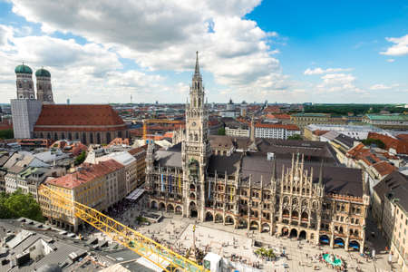 Aerial view on Marienplatz town hall and Frauenkirche in Munich, Germany Editorial