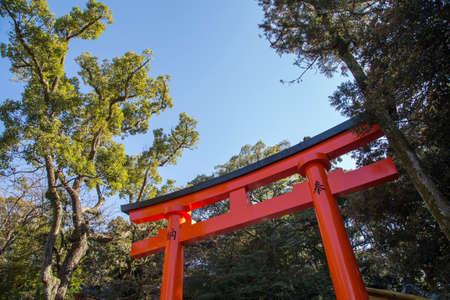 An orange and black Japanese Tori Gate