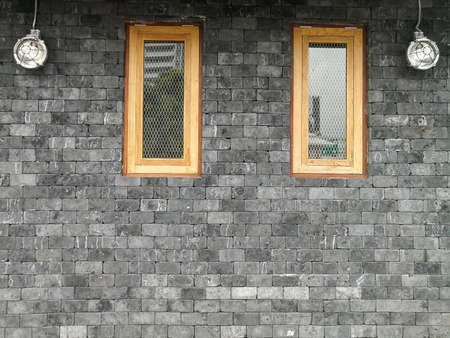 brick wall of with window, modern style