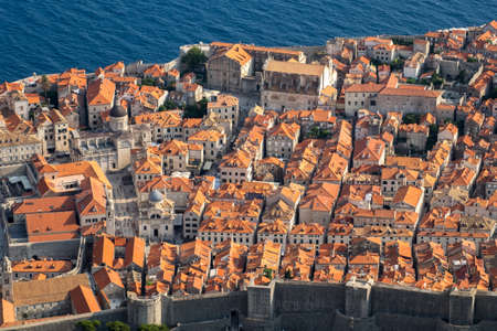 Aerial view of old city Dubrovnik in a beautiful summer day with blue sky Stock Photo