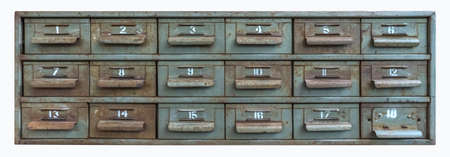 Vintage drawers with number for decoration isolated on white Stock Photo