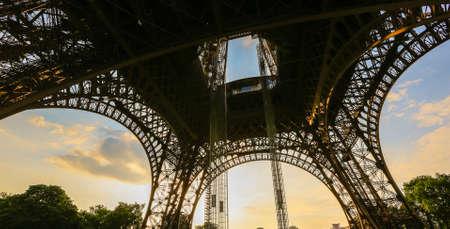 Under Eiffel tower at sunset