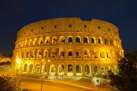Colosseum in Rome at night , Italy Stock Photo