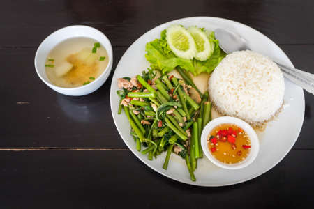 Thai rice with pork and vegetable Stock Photo