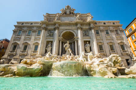 Trevi Fountain (Fontana di Trevi) in Rome in Summer day with very blue sky - Italy Stock Photo