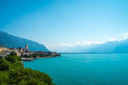 Lake Geneva and Swiss mountains Stock Photo