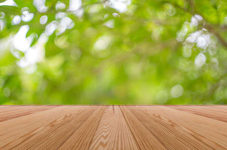 Empty wooden table with blurred green garden background