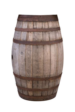 Old retro wooden barrel isolated with clipping path included