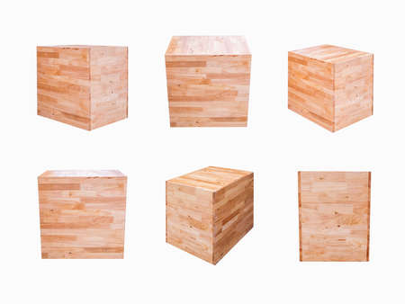 six blank wooden blocks isolated white background