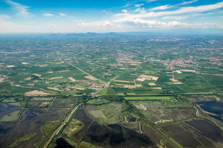 Aerial photograph area on agriculture and village