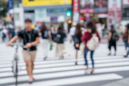 Crowded street in Japan, blurred background