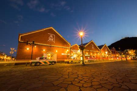 HOKKAIDO, JAPAN - Oct 2, 2017: The Kanemori Red Brick Warehouse in Hakodate port at twilight Editorial