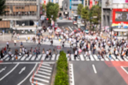 top view of a Crowded street in Japan, blurred backgrounds
