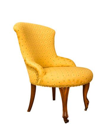 vintage yellow armchair isolated on white background