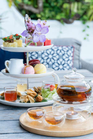 Traditional afternoon tea at restaurant