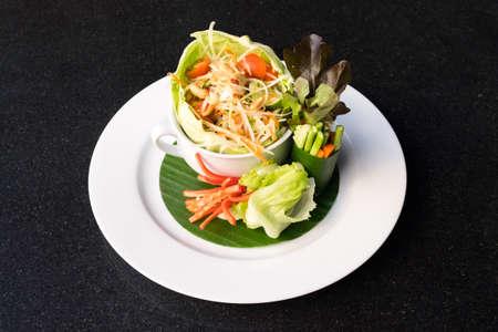 Papaya salad or Som tum. Thai food decorated