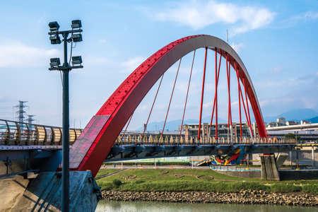The famous Rainbow Bridge over Keelung River, Taiwan Stock Photo