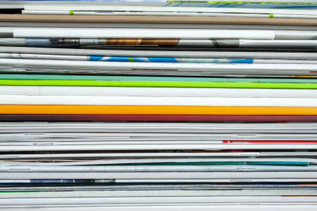 Background from stacked magazines, brochures, notebooks, catalogs Imagens