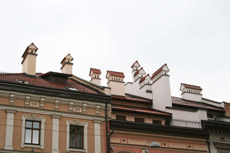 Chimneys in the form of small houses, located on the tiled roof of the house