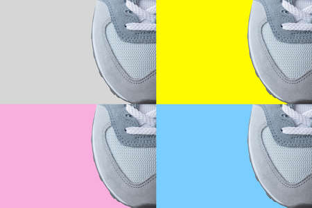 Gray sports sneaker shoe made of suede and mesh isolated on color backgrounds with copy space. Top view, flat lay. Blank for banner, advertisement, flyer, booklet with easily recolourable background Stock fotó
