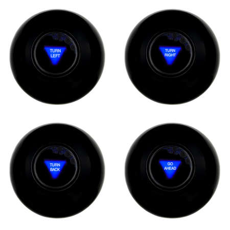 Set of four magic 8 balls with turn predictions isolated on white background