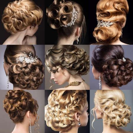 ślub: Kolekcja fryzur ślubnych. Piękne dziewczyny. Fryzjer. Zdjęcie zrobione w studio. Zdjęcie Seryjne