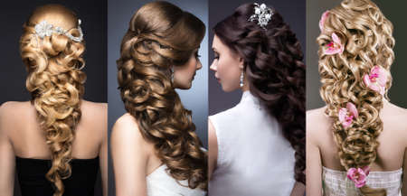 salon background: Collection of wedding hairstyles. Beautiful girls. Beauty hair. Photo taken in the studio.