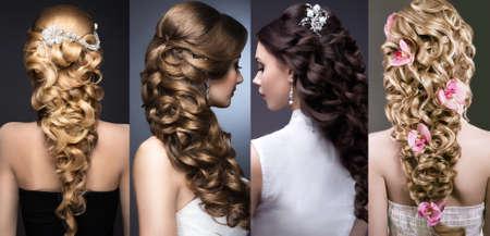 capelli biondi: Raccolta di acconciature da sposa. Belle ragazze. Capelli bellezza. Foto scattata in studio. Archivio Fotografico