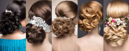 blond hair: Collection of wedding hairstyles. Beautiful girls. Beauty hair. Photo taken in the studio.