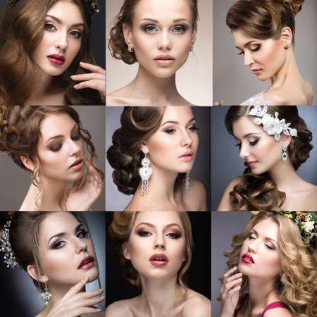 collage caras: Colección de maquillaje de boda. Hermosas chicas. Cara de la belleza. Foto tomada en el estudio.