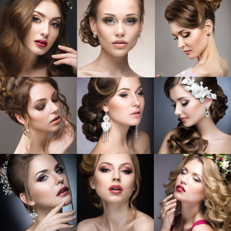 collage art: Collection of wedding makeup. Beautiful girls. Beauty face. Photo taken in the studio. Stock Photo