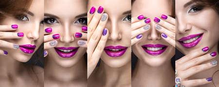 明るい夜化粧とラインス トーン ピンク マニキュアの美しい少女。ネイル デザイン。美容顔。黒の背景にスタジオでの撮影。 写真素材