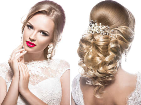 model portrait: Beautiful blond woman in image of the bride with flowers. Beauty face and Hairstyle. Picture taken in the studio