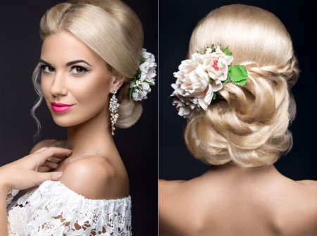 Beautiful blond woman in image of the bride with flowers. Beauty face and Hairstyle. Picture taken in the studio