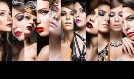 collage caras: Colecci�n de maquillaje de noche. Hermosas chicas. Cara de la belleza. Foto tomada en el estudio. Foto de archivo